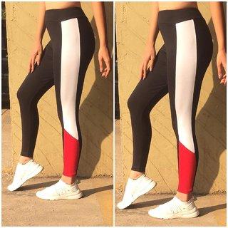 Side Red White Combo Block Stripe Stretchable Leggings / Gym Wear /Yoga Wear /Running Wear