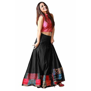 Florence Black Silk Digital Print Lehenga Choli