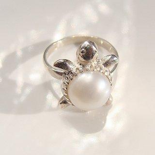 5.00 ratti Pearl Kachua Ring Natural  unheated moti silver turtle ring Jaipur Gemstone