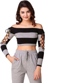 Texco Grey and Black Striped Off Shoulder Crop Top for Women