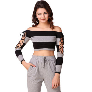a975731c14d4 Buy Texco Grey and Black Striped Off Shoulder Crop Top for Women ...