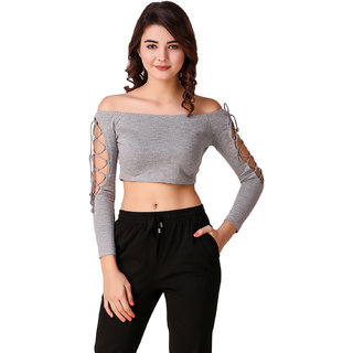 Texco Grey Off Shoulder Crop Top for Women