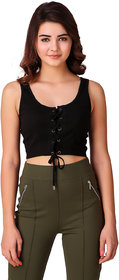 Texco Black Front Tie-Up Detail Styled Crop Top for Women