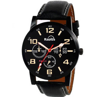 Radius Chronograph Display Black Dial Black Leather Strap Mens Watch R-1990
