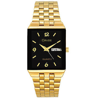crude rg2058 day and date golden watch for men
