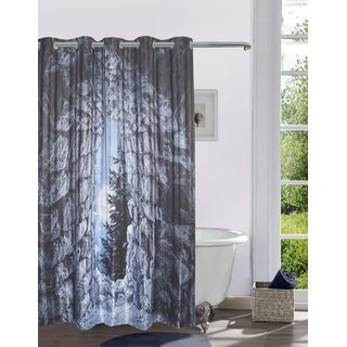Lushomes Digitally Printed Moon Cave Shower Curtain with 10 Eyelets Size: 72x82 inches (single pc)