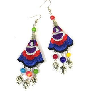 Digital Dress Women's Fashion Jewellery Earring Indian Traditional Light Weight Handmade Multicolor Beads Embroidery Design With Silver-Plated Leaf  Drop Hook Earrings for Women  Girl -Skin Friendly