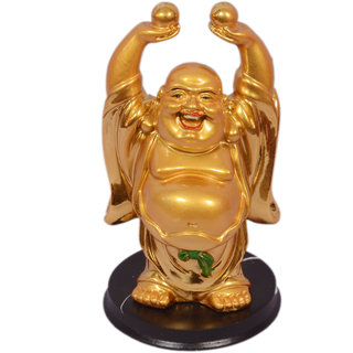 Oanik Laughing Buddha Lifting 2 Balls For Wealth And Happiness