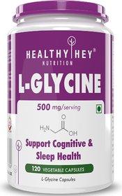 HealthyHey Nutrition Glycine - 500 mg - Support Brain and Sleep Health - 120 Veg. Capsules
