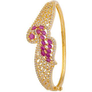 Voylla Pink CZ Peacock Bracelet