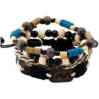 Dare by Voylla Blue White Black Beads, Leather and Braided Bracelet Set of 4