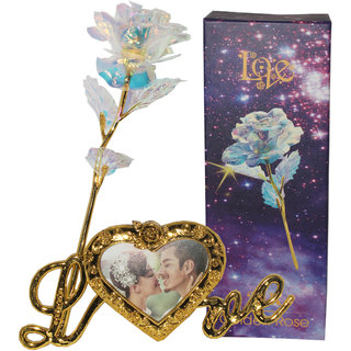Best Valentine's Day Gift For Your Love Ones 24k Gold Leaf Flower With Led Light  Photo Frame Love Stand
