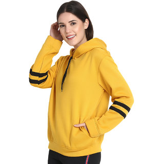 Raabta Mustard Yellow Sweatshirt with Strip Sleeve