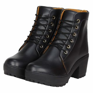 Ethics Premium Faux Leather Black High Ankle Casual Stylish Boot For Women's (36 EU)