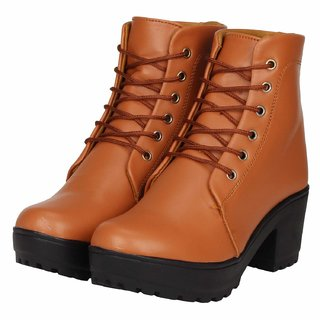 Ethics Premium Faux Leather Tan High Ankle Casual Stylish Boot For Women's (36 EU)