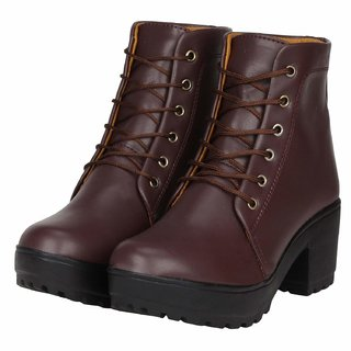 Ethics Premium Faux Leather Brown High Ankle Casual Stylish Boot For Women's (36 EU)