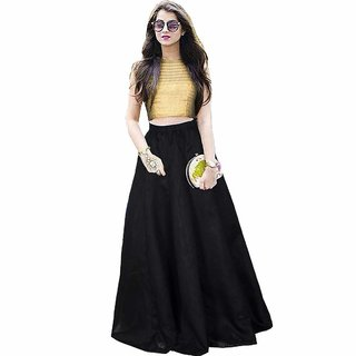 Florence Black Satin Solid Lehenga Choli