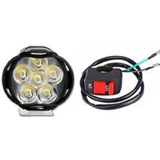 6 LED Motorcycle Bike LED Headlight Driving Fog Spot Light Lamp 1 pcs with On Off Switch