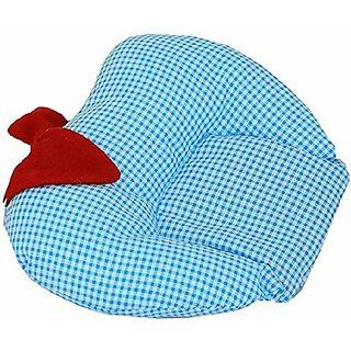 MOM SON Cotton Apple Shape Soft Fabric Detachable Mustard Seeds Pouch for Easy Washing Feeding and Nursing Pillow (Blu