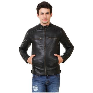 Men's Black Leather PU Leather Jacket
