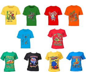 Pari  Prince Multicolor Kids Assorted Round Neck T-shirts (Pack of 10)