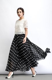 Raabta Black with white Dot Print Skirt