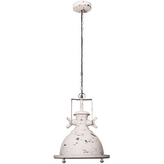 Fos Lighting Marine Distressed White Industrial Pendant Light
