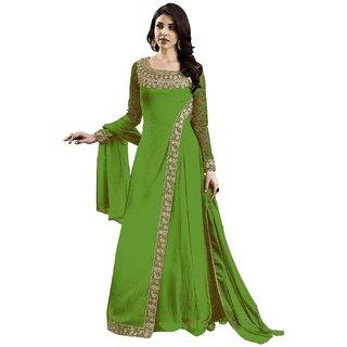 Anarkali for women's ( FASHION CARE Present georgette satin Semi-Stitched Anarkali Suit for women's color Top - MAHENDI