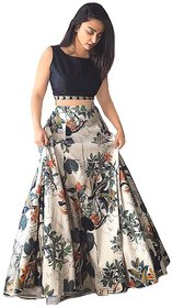 Florence Multicolor Bangalore Silk Printed Semi-Stitched Lehenga Choli