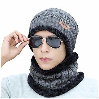 Aeoss 2-Pieces Winter Beanie Hat Scarf Set Warm Knit Hat Thick Knit Cap for Men Women