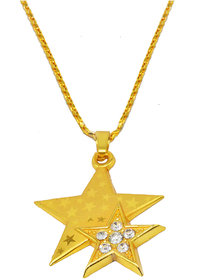 Sullery Beautiful Two Star Locket With Chain  Gold  Brass And Crystal Heart Pendant  Necklace