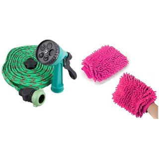 U.S.Traders Water Spray Gun For Home Bike Car Cleaning Gardening Plant Watering Wash  1 Free Hand Glove Duster Combo