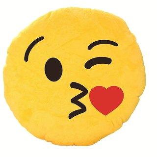 ReBuy Cushion- Romantic Flying Kiss Emoji Pillow Smiley Cushion Soft Toy 12 Inch