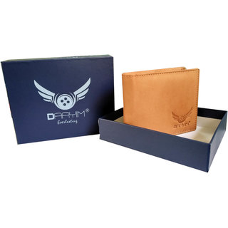 Daayim Men Formal Tan Genuine Leather Wallet 4 Card Slots
