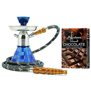 SCORIA Petite 9.5inch Glass Hookah with Alsuhana Chocolate Hookah Flavour (Combo Pack of 2)