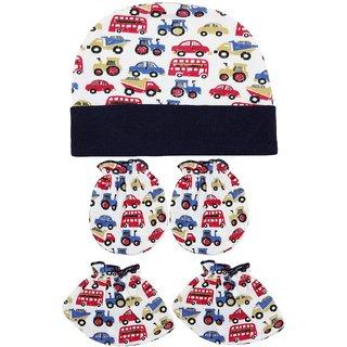 Neska Moda Baby Navy Blue Mittens Booties with Cap Set 3 Pcs Combo 0 To 6 Months MT59