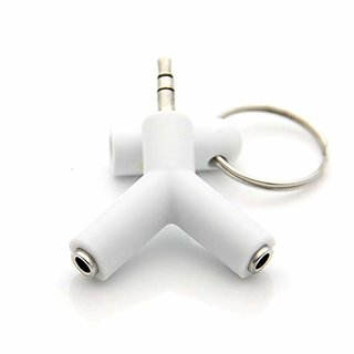 Oxza 3.5mm Y Shape Type Stereo Audio Jack Compatible With All Smartphone Device Headphone Splitter (WHITE)