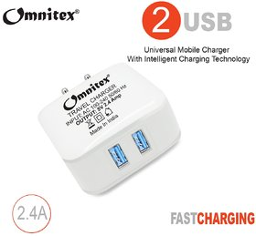 Omnitex 2.4 Amp High Speed Dual USB Port Travel Adapter With Type C Cable (White)