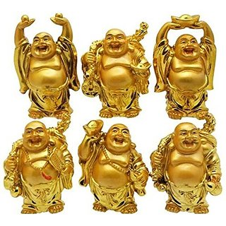 Feng Shui Chinese Happy Man-Laughing Buddha - 6 different Poses Set Figurine Golden Statue -5 CM (Polyresin,Gold)