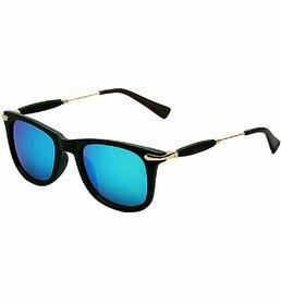Ivonne Uv400 Blue Mirrored Wayfarer Sunglasses For Men Women