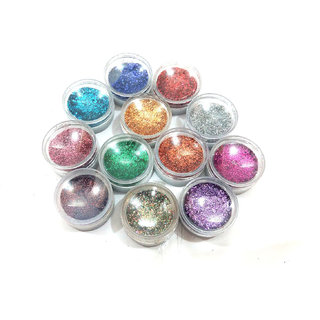 MAKE A GLAMOUR FROM EYECARE 12 COLOR THICK SHIMMER GLITTER FOR BEAUTY QUEEN