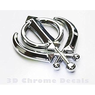 DELHITRADERSS 3D Khanda Sikh Chrome Plated Emblem Logo Decal for Car/SUV/Sedan/Automobiles