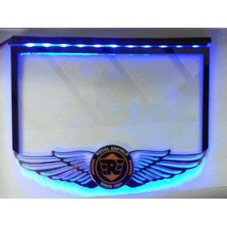 Delhitraderss Bullet License Number Plate Fiber Sheet With Blue LED Light For bulletThunderbird 350