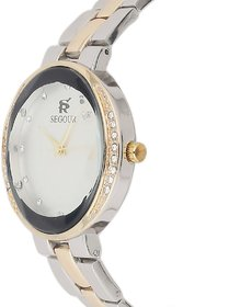 Segour Multicolour Analog Watch for Ladies with Quartz  Gold Dial Diamond Studded