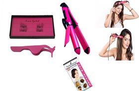 Style Maniac 2 in 1 Hair Curler And Straightener  3 Second Magnetic Eyelash (Pair Of 2) With An Amazing Hair Style Book