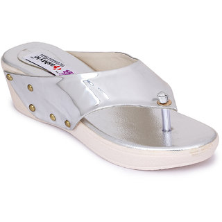 Fashtyle Women Silver Slip-On Wedges