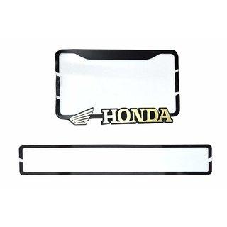 DELHITRADERSS Fiber Sheet Honda License Number Plate with Logo Sticker