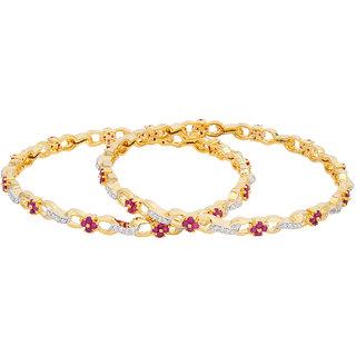 Voylla Gold CZ Floral Gold Plated Bracelet