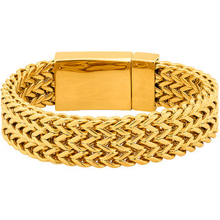 Dare by Voylla Solid Link Bracelet with Gold Plating