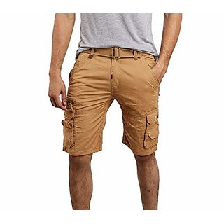 Men's Coffe Cotton Cargo Capri Shorts Track Pant